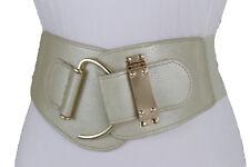 Women Fashion Champagne Beige Stretch Belt Hip High Waist Metal Hook Buckle S M