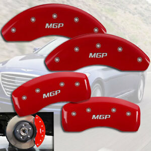 """2012-2013 Veloster Base Front + Rear Red Engrave """"MGP"""" Brake Disc Caliper Covers"""