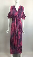 TBAGS Womens Sexy Cold Shoulder Knot Front Stretch Jersey Maxi Dress Pink S $198