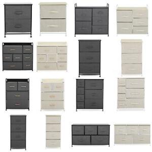 Black/Beige Bedside Table Drawer Cabinet Bedroom Furniture Storage Nightstand UK