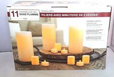 """NEW 11 PACK INGLOW"""" FLAMELESS LED CANDLES PILLARS VOTIVES AND TEA LIGHTS - NIB"""