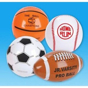 """Dozen 16"""" Inflatable Waterproof Sports Balls Party Gift Bag Set Fun Play Toy"""