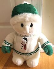 Goffa Snowman Plush Stuffed 16� Green Sweater Winter Hat Large