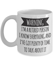 Warning I'm a retired person, retirement mug gift for women, funny retirement