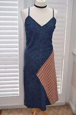 Roxy Quiksilver Lanières Denim rayé robe-Taille 3 (UK 10)