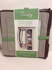 Canopy 6 Shelf Hanging Closet Organizer Brown Bamboo Recycled Pet Fabric New