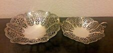 International Silver Co Lovelace Silverplate Candy Footed Trinket Dish Set of 2