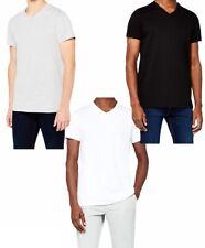 T-shirt uni à manches courtes Col Rond Ou Col V , 100% coton, pour homme (M-XL)