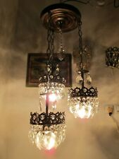 Antique Vnt French Pendant style Crystal Chandelier Lamp 1940's 14in Diameter