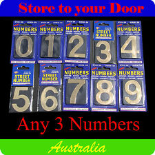 3 x House Numbers, Street Numbers, Letterbox Numerals - B & G - Self Adhesive