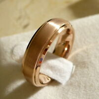 6mm TUNGSTEN CARBIDE MEN'S/ WOMEN'S WEDDING BAND RING ROSE GOLD PLATED SZ 5-15