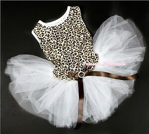 Leopard Sleeveless White Tulle wif Crystal Button One Piece Dress Pets Cats Dogs