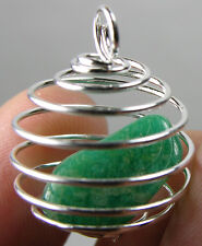 Russia 100% Natural Tumbled Rough Amazonite Crystal In Spiral Cage Pendant