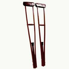 1 Pair x Crutches Wooden, Medium, Extendable 42 to 52 inches