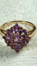 Sterling Silver & 14k Gold Multi GEMSTONE Ring Sz 8