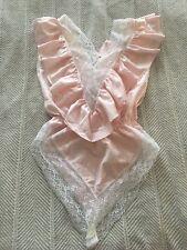 Igwu Lily of France Medium Vintage Pastel Pink Floral Lace Trim Leotard Lingerie