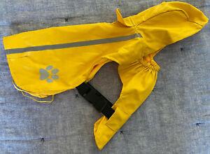 TOP PAW Outdoor Medium M Dog Raincoat Yellow Hood Grey REFLECTIVE Stripe Paw