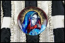 † 19th BVM MOTHER of SORROWS SIGNED LIMOGES ENAMEL HAND PAINTED UNMOUNTED ROUND