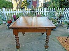 Antique Tiger Oak Arts & Crafts Refractory Dining Room Table w/barley twist legs