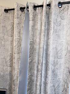 4 Grey Paisley 36x94 NANETTE LEPORE Room Darkening GROMMET CURTAIN PANELS