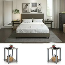 Bedroom Set Full Size Bed 2 Nightstand Table Modern Design Furniture 3 Pieces