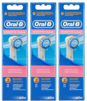 Braun Oral B Sensitive Clean Replacement Brush Heads, 6 Count