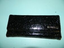 Kenneth Cole Reaction Black Embossed Womens Trifold Wallet