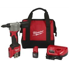 Milwaukee 2550-22 M12 12 VOLT CORDLESS Pop Rivet Tool With 2 Battery and Charger
