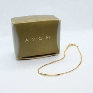 "Vintage Avon Golden Anklet Small 1997 Thin Dainty Chain Ankle Bracelet 9"" Length"