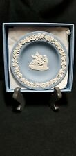 "Wedgwood 4 1/2"" mini white on blue jasperware plate with pegasus in box"