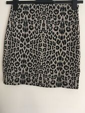 Ladies Black & Beige Leopard Print Stretchy Mini Skirt Size 8 By New Look