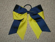 "NEW ""Two-Tone NAVY & YELLOW"" Cheer Bow Pony Tail Ribbon Girls Hair Cheerleading"