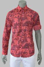 Mondo men's Italian fashion LONG SLEEVE fancy shirt BUTTON down red floral