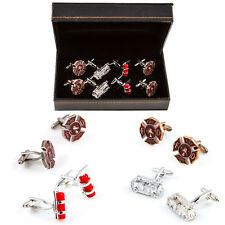 Fire Department Truck Extinguishers 4 Pairs of Cufflinks Wedding Fancy Gift Box