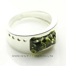 GREEN BALTIC AMBER 925 STERLING SILVER RING SIZE 7.5