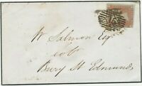 """GB QV LE 1d red unplated almost 4 margins (MH) cover LONDON numeral """"15"""",1847"""