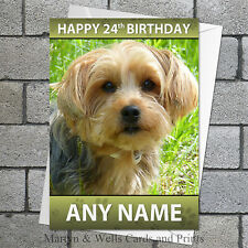 Yorkshire Terrier personalised birthday card. 5x7 inches. Yorkie dog.