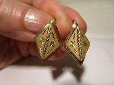 STUNNING VTG 14K GOLD 3D-Double Rhomb PIERCED EARRINGS Signet SMA/MFC 1983 RARE