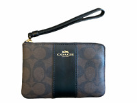Coach Large Wristlet in Signature Canvas F58035 MSRP $128 Brown Black NEW