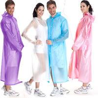Women Men Waterproof Jacket Clear PVC Raincoat Rain Coat Hooded Poncho Rainwear