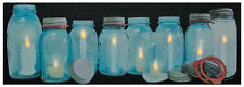 New Primitive Farmhouse Chic Vintage Blue Mason Jar Candle Lighted Picture