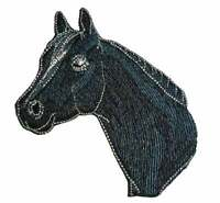 1pc RIDER WITH Leather HORSE SHOE w// STRAP ~ IRON ON EMBROIDERED APPLIQUE PATCH