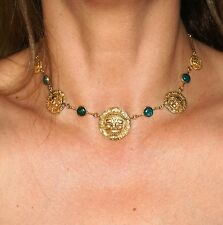 Vintage Peruvian 18k Solid Gold and Torquise hand crafted Necklace