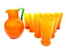 Art Deco Charles Schneider Orange Tango Glass Lemonade Jug & Tumbler Set Antique