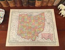 Large Original 1899 Antique Map OHIO Akron Columbus Dayton Youngstown Zanesville