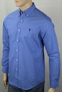Ralph Lauren Blue Plaid Classic Dress Shirt Navy Blue Pony NWT