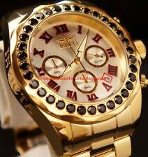 Invicta Mens Pro Diver Quartz Chrono 4.89ctw Black Spinel Gold-Tone SS Watch