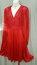 "Amoureuse RED Nightgown Robe  PEIGNOIR SET BELOW KNEE LENGTH Sz 3X 56"" BUST"