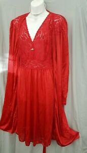 "Amoureuse RED Nightgown Robe  PEIGNOIR SET BELOW KNEE LENGTH 4X  5X 64"" BUST"
