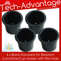 4 X STANDARD SIZE RECESSED BLACK DRINK/CUP/CAN HOLDER MARINE BOAT/YACHT/CARAVAN